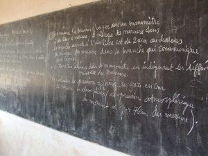 a chalkboard in a school in Kirundo