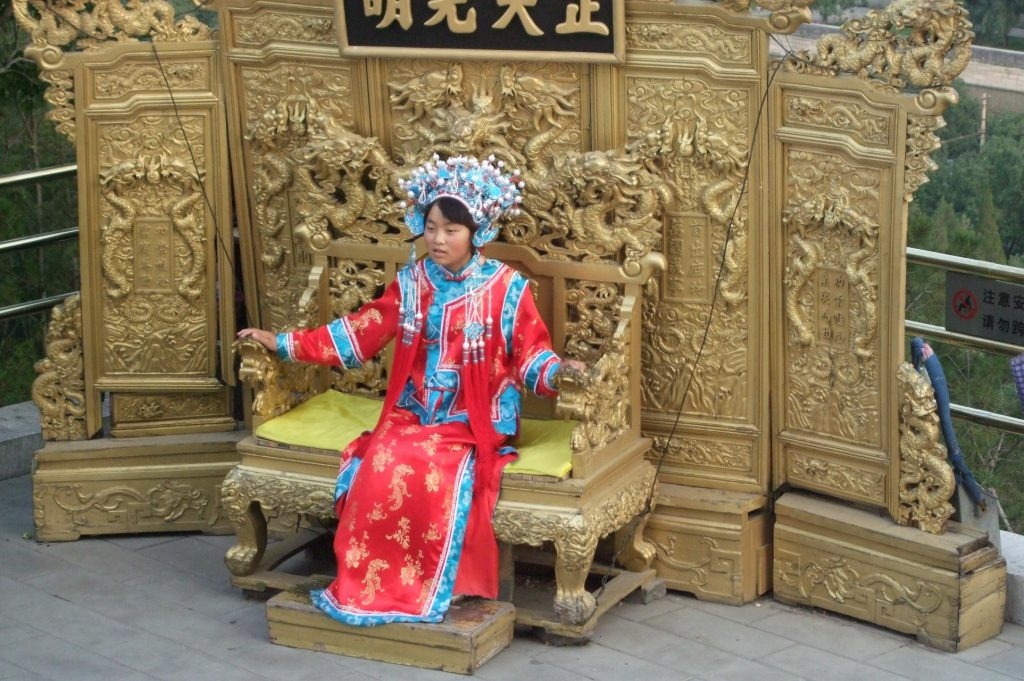 a girl dressed up as empress