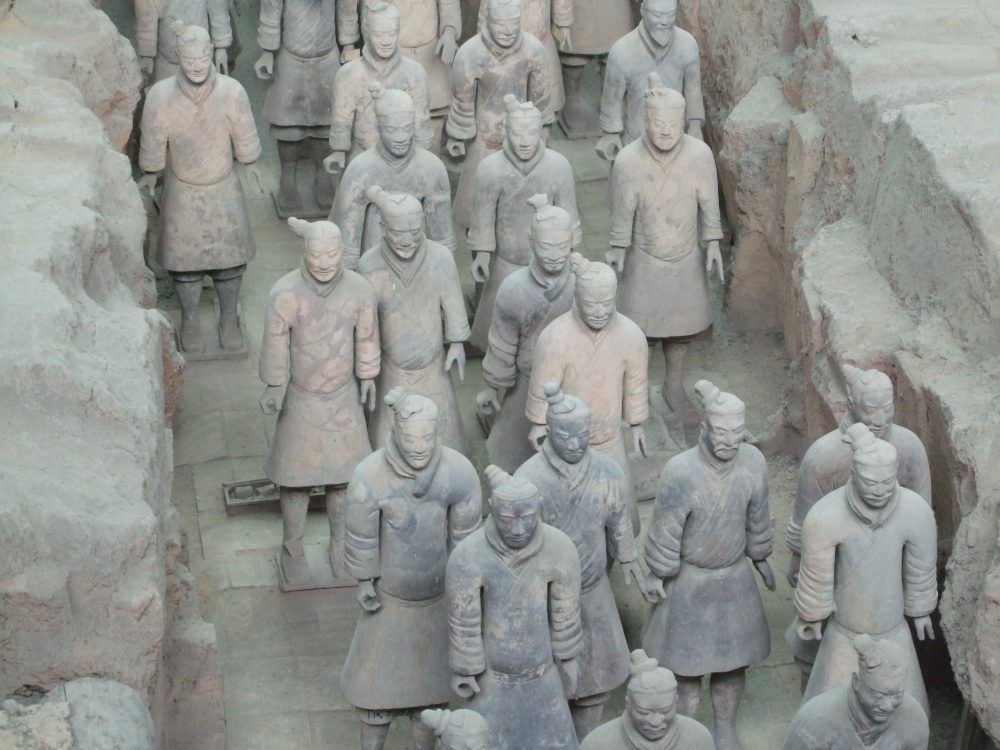 On losing things: a cluster of terracotta warriors from Xian, China. This photo is just a few of them, perhaps 15. They all face the same way but have different faces.
