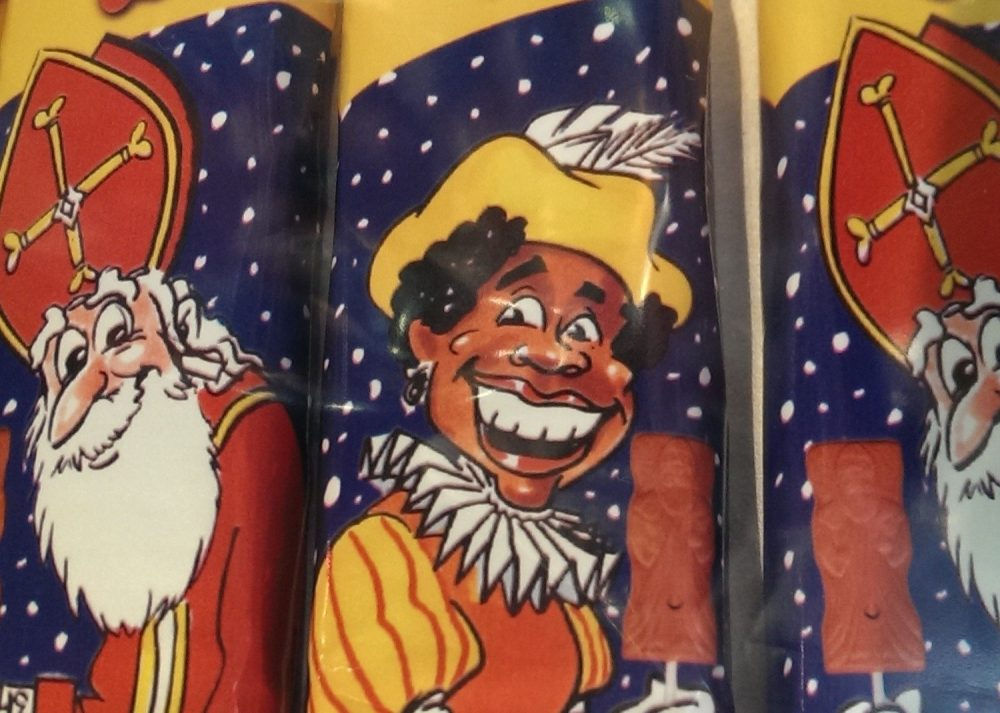 Zwarte Piet and Sinterklaas as portrayed on candy wrappers