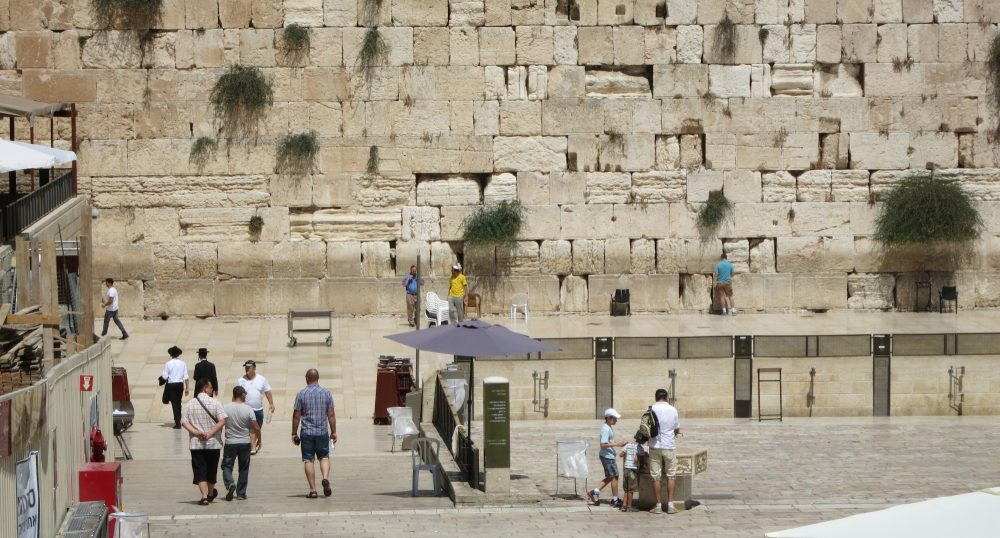 the exposed part of the Western Wall, with far fewer people busy praying than usual