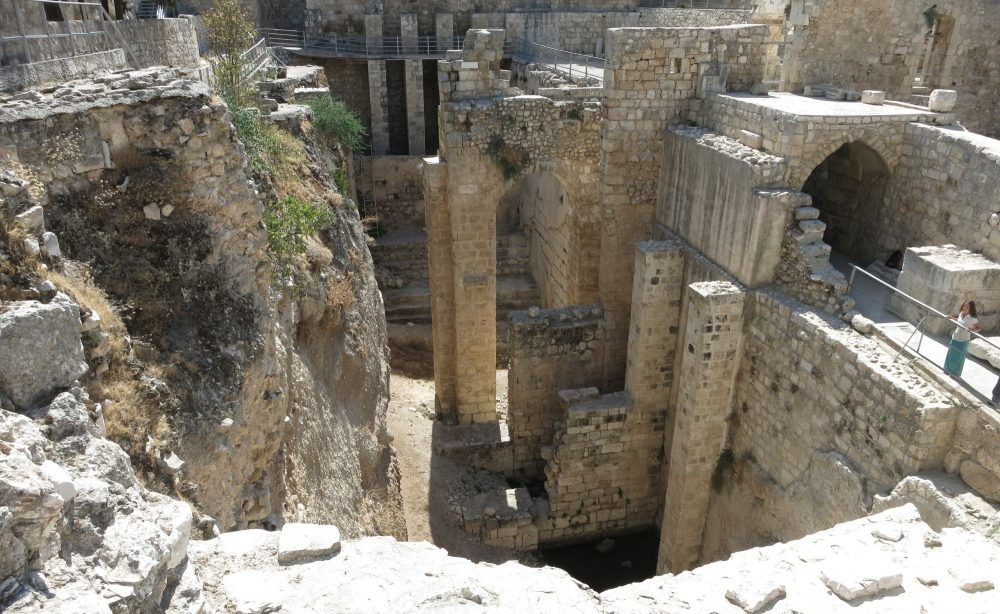 The ruins of the pool of Bethesda on the Via Dolorosa