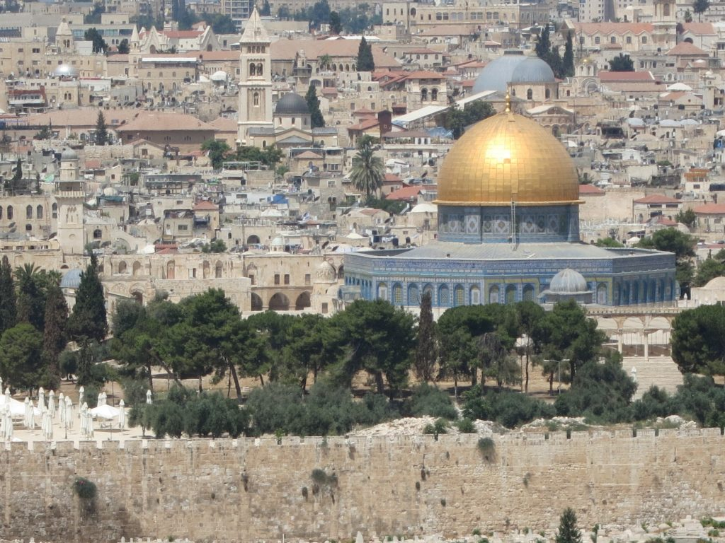 the Temple Mount with the Dome of the Rock, as seen from the Mount of Olives