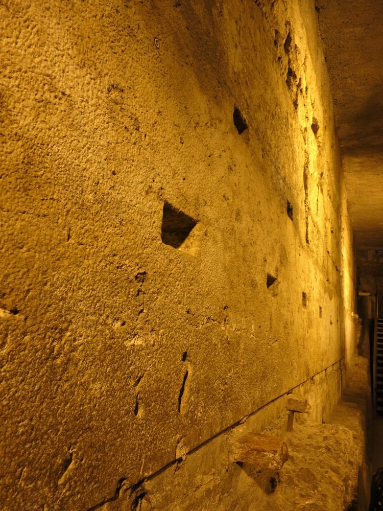The Western Wall Tunnel Tour follows the underground part of the wall, including stones that are massive like these.