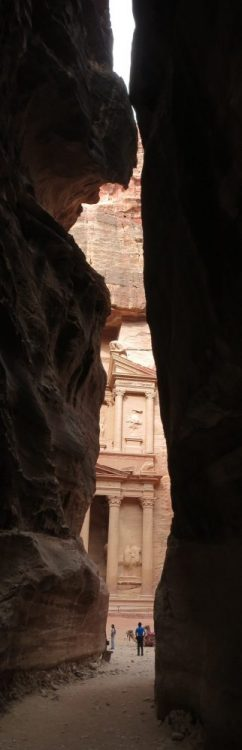 The treasury at Petra, as you approach it through the Siq: Petra travel advice: 10 tips for visiting Petra
