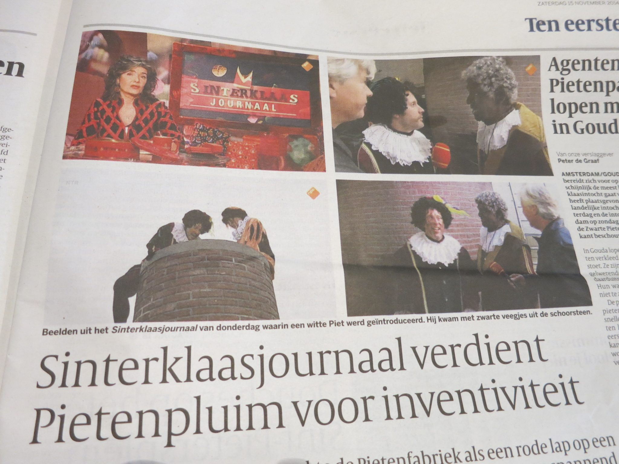 newspaper article about the Sinterklaas news program
