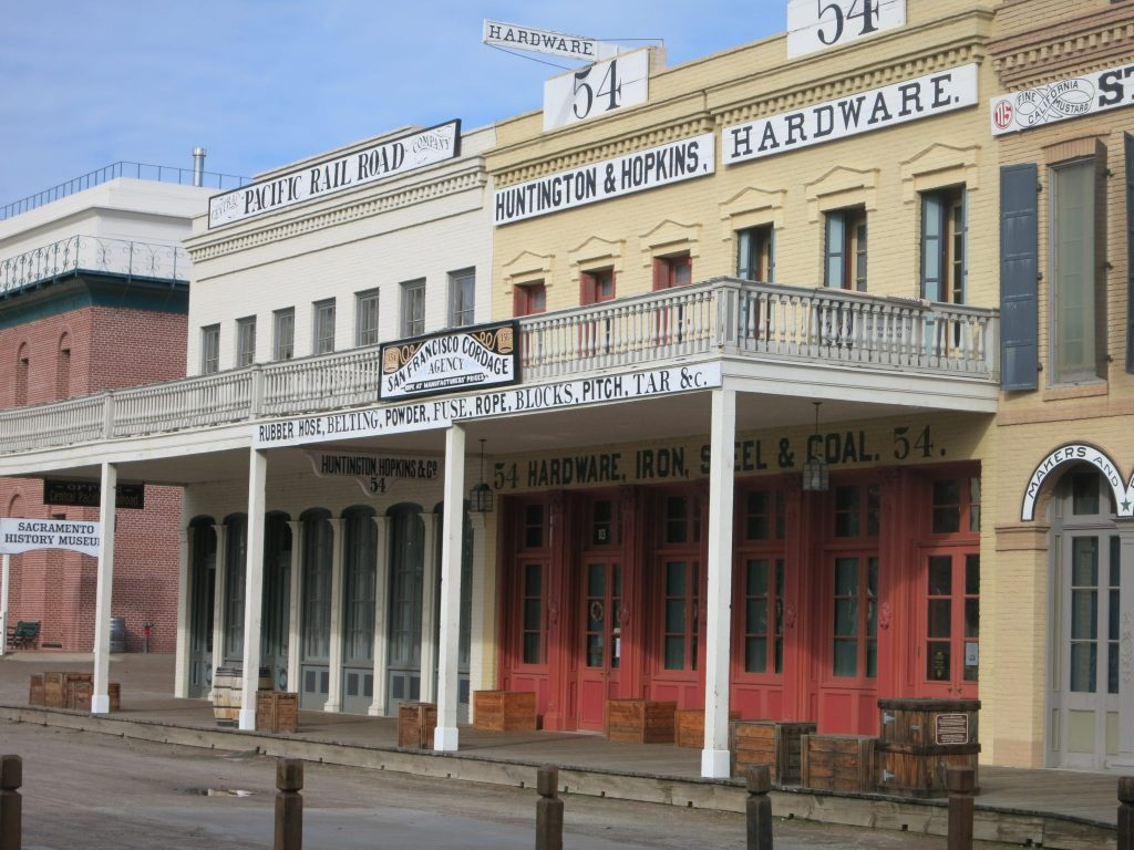 These buildings in Old Sacramento are part of a museum.