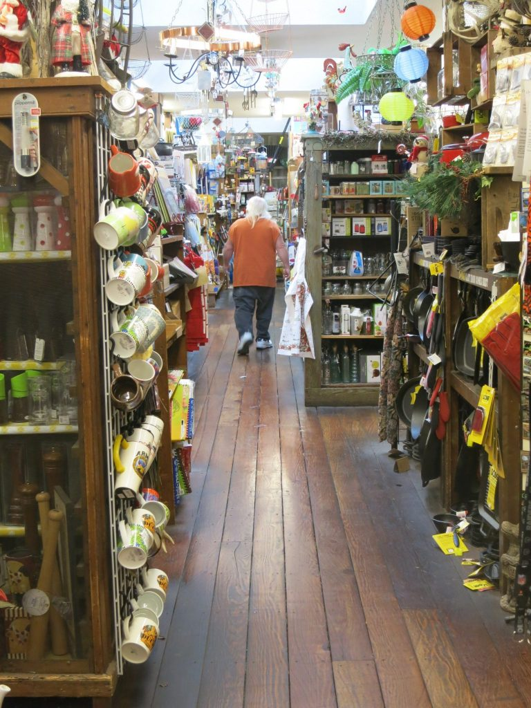 crowded aisles inside Placerville Hardware