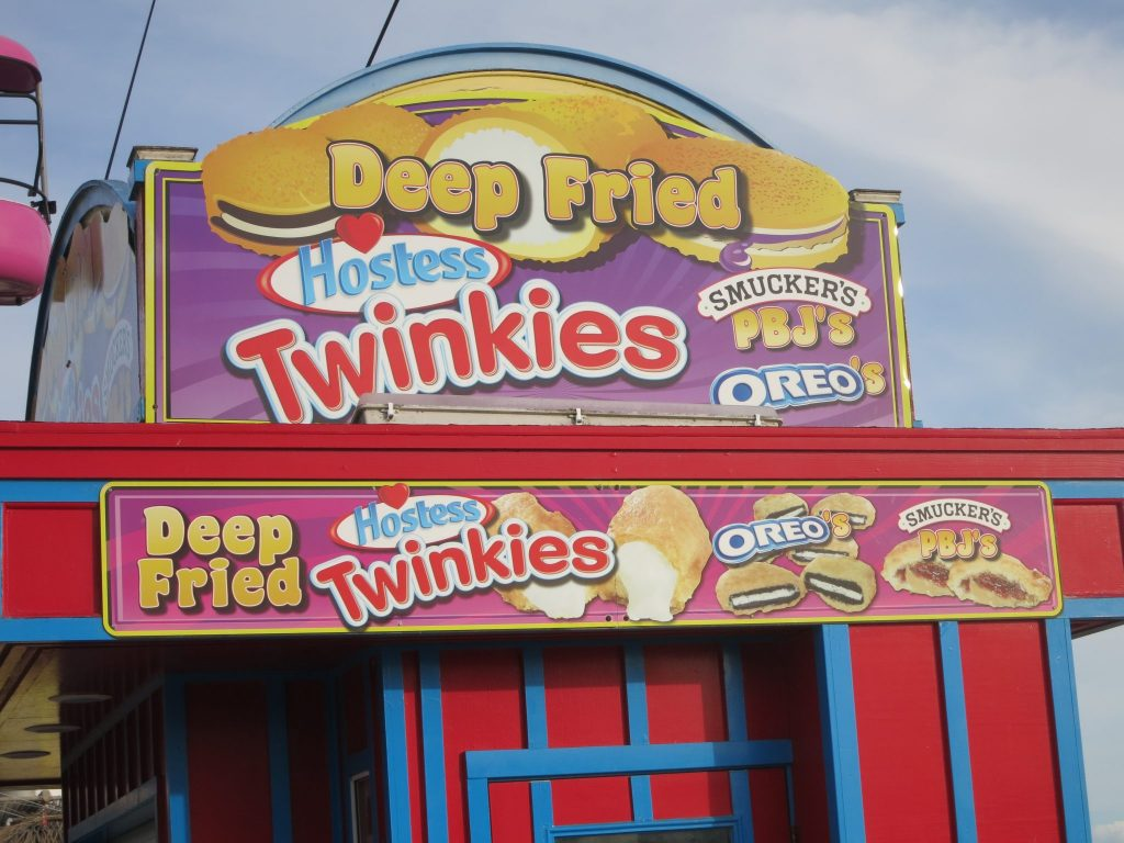 ad for deep-fried twinkies, oreos, etc.