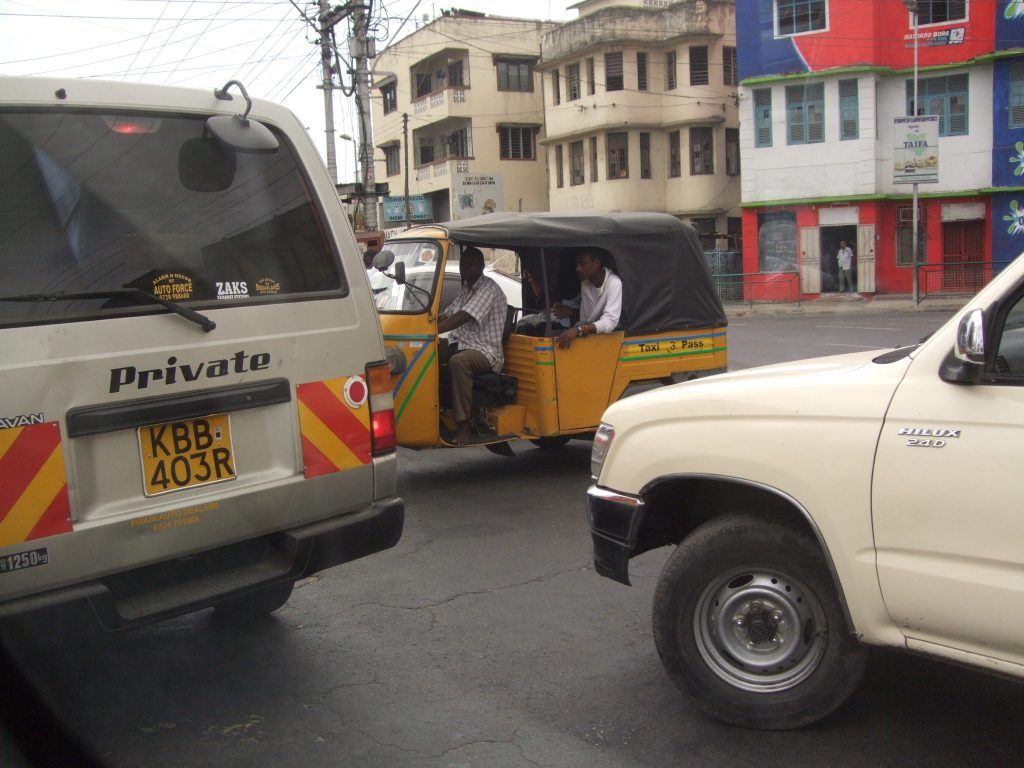 a traffic jam in Mombasa, where I led a workshop in 2010