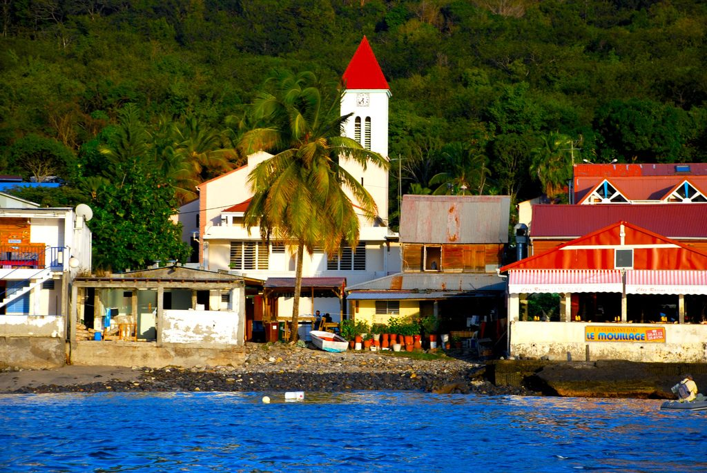 a view of the village of Deshaies, Guadeloupe