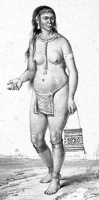 an old drawing of an Arawak woman in Guadeloupe
