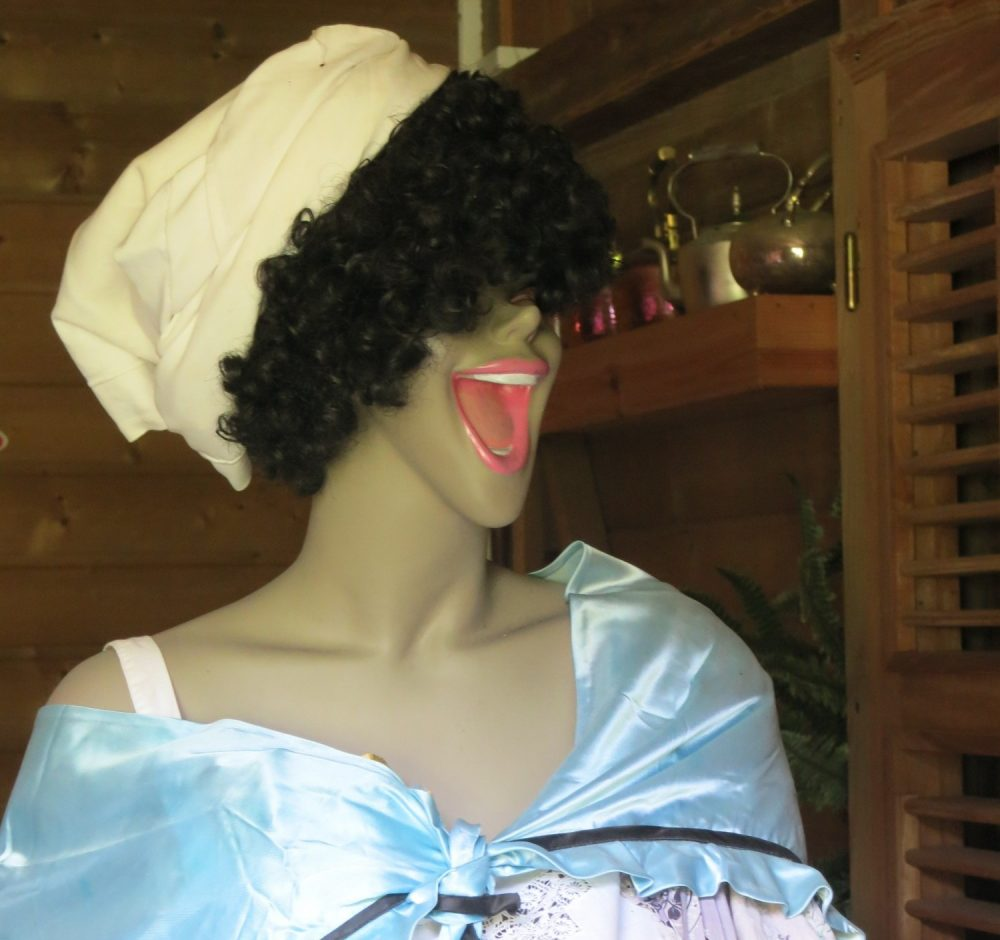 close-up of a laughing mannequin in the Banana Museum in Guadeloupe