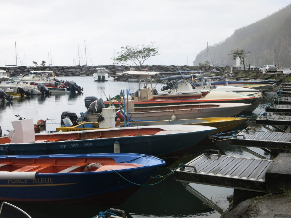 "fishing boats moored in Deshaies, where ""Death in Paradise"" is filmed"