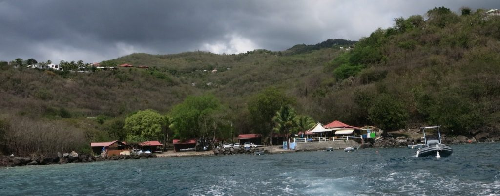a view of the bay where La Rand'eau is based, taken as the snorkel trip was leaving the shore.