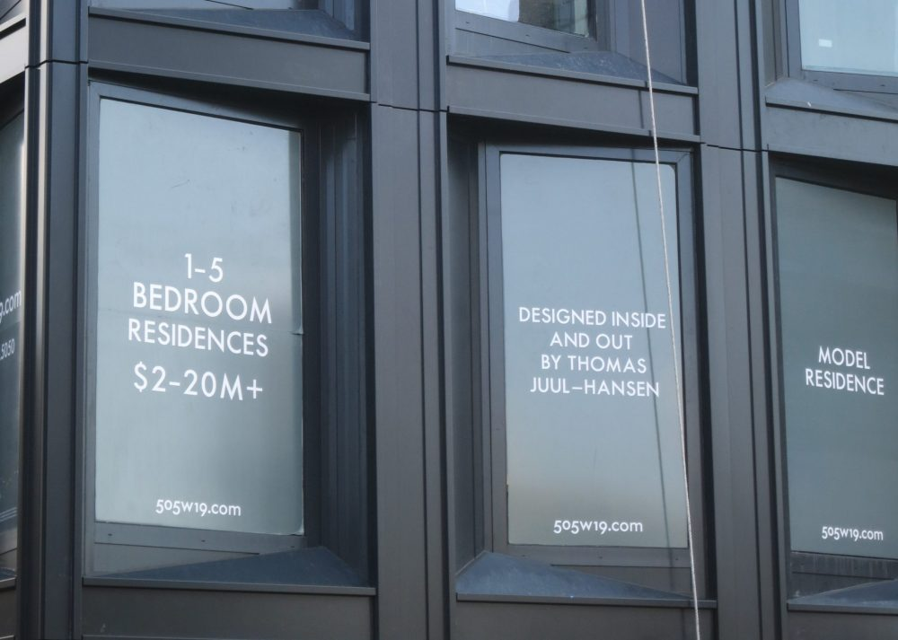 "seen from the High Line, a sign in a new apartment building reading ""1-5 bedroom residences $2-20M+"""
