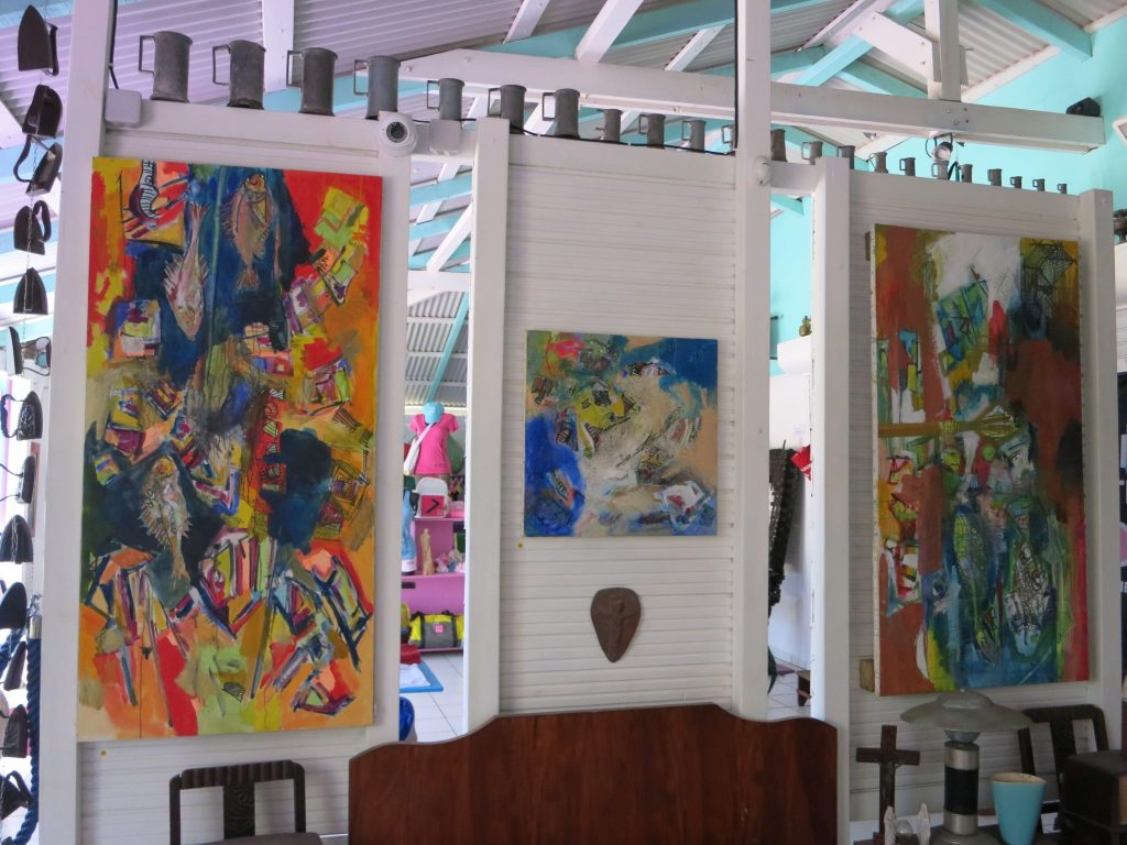 Three abstract paintings in Kreol West Indies.