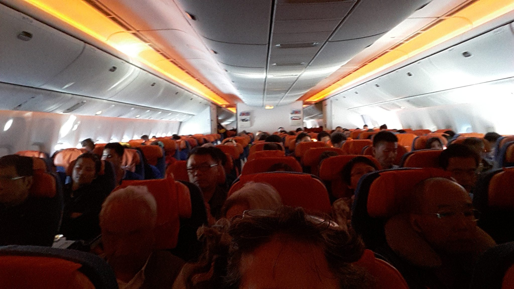 view of the interior of the Aeroflot Boeing aircraft