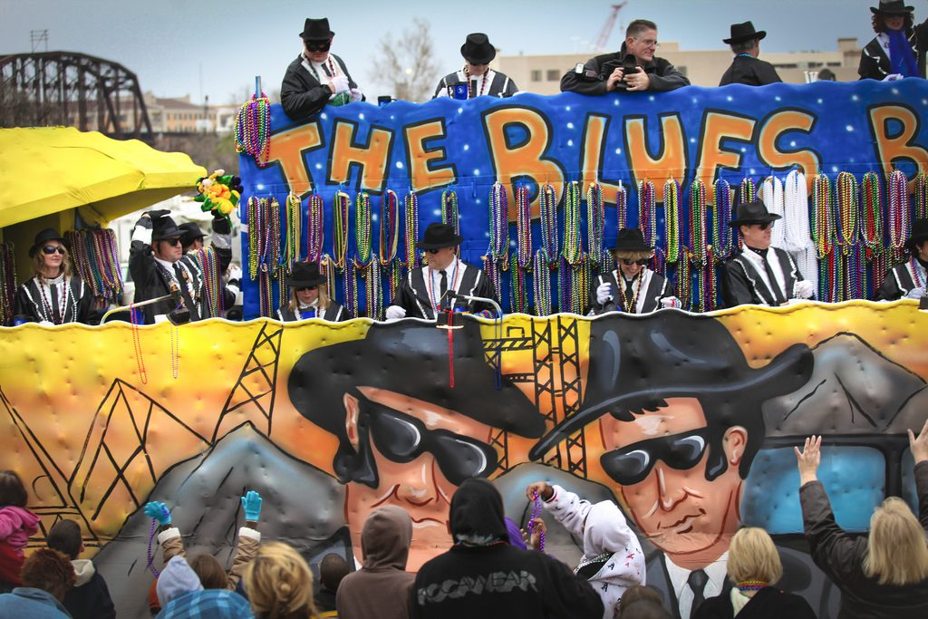 float with the theme of The Blues Brothers