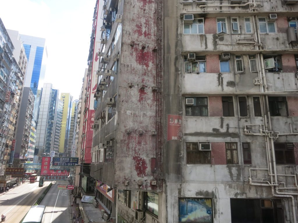 rundown exterior of a building in Hong Kong