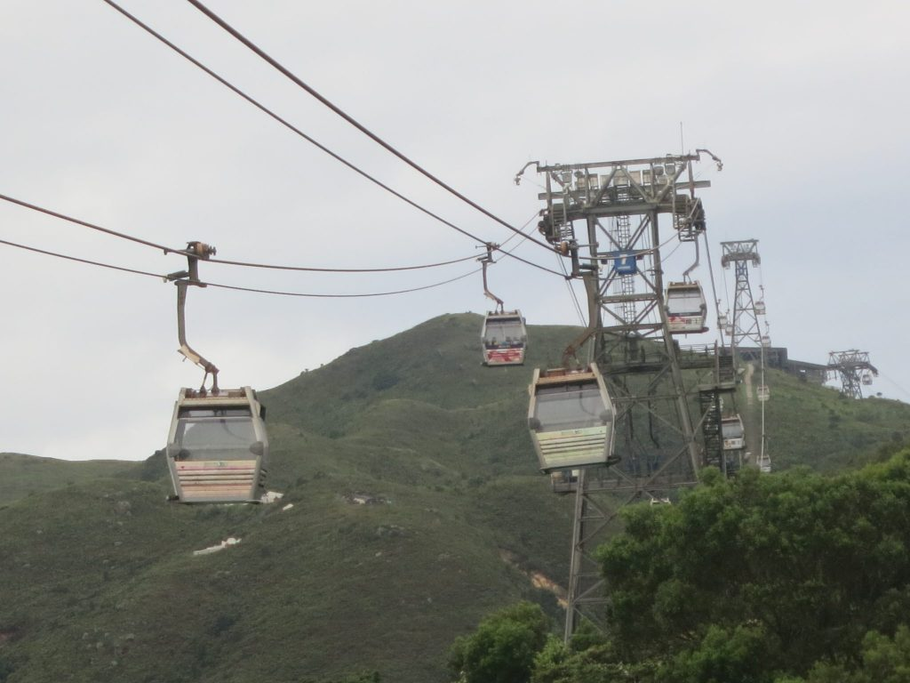 view of the cable car line from the end near the Big Buddha