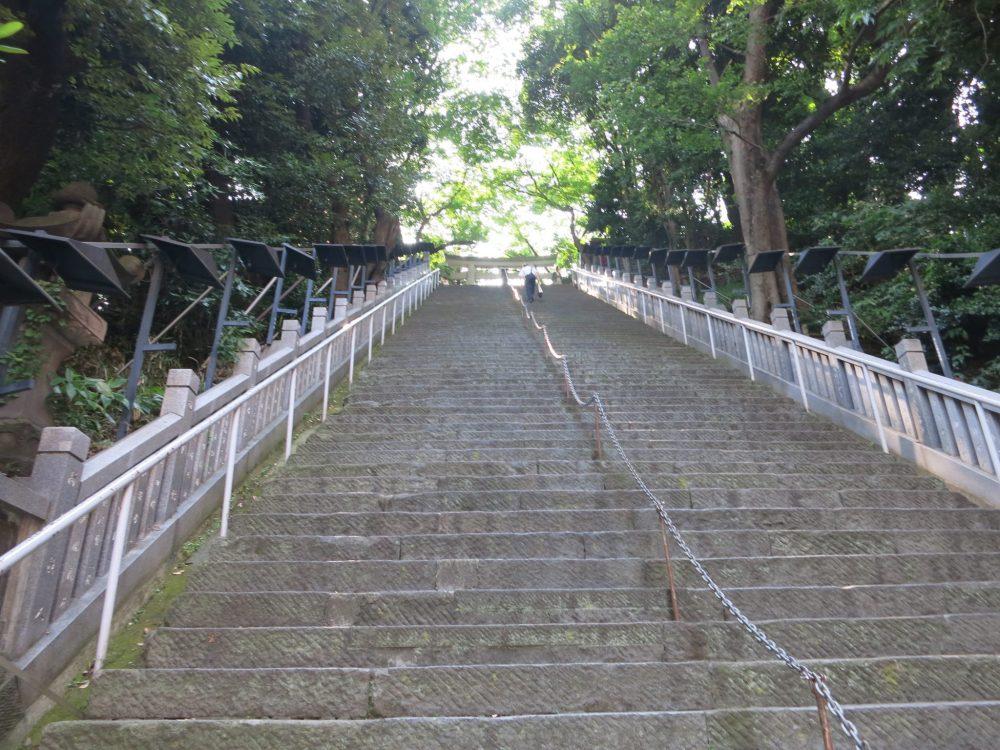 view looking up the stairway to Atago-Jinja in Tokyo
