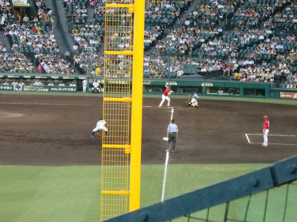My view down the third base line from my seat at the baseball game between the Hanshin Tigers and the Hiroshima Carp