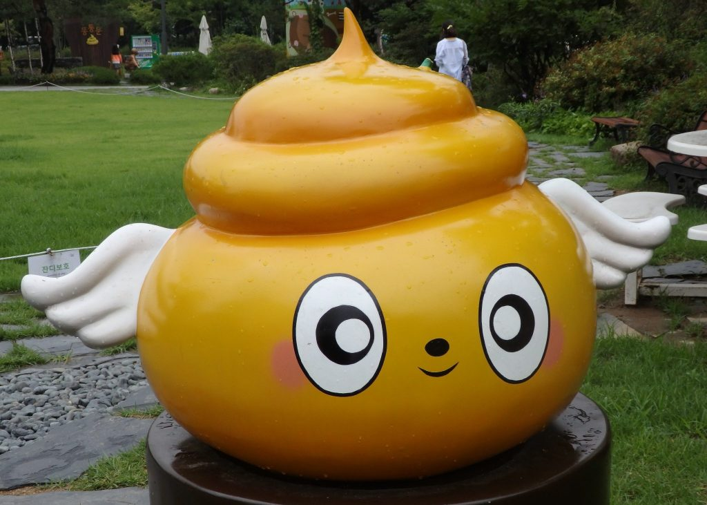 Toile, the mascot of Mr. Toilet House, the Toilet Museum in Suwon, South Korea