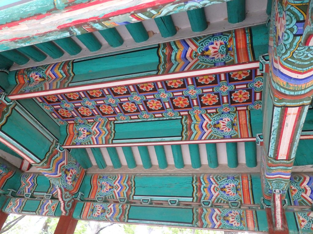 detail from the roof of one of the pavilions in the Secret Garden, Seoul, Korea