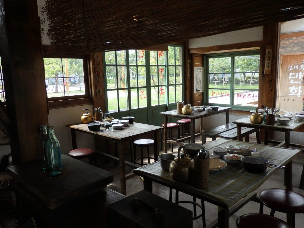 interior of a cafe on display at the National Folk Museum in Seoul, Korea
