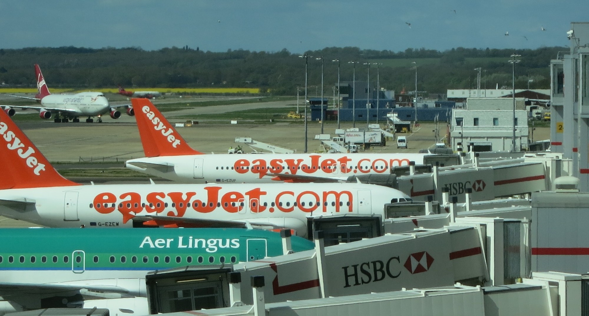 Planes at boarding gates in Paris.