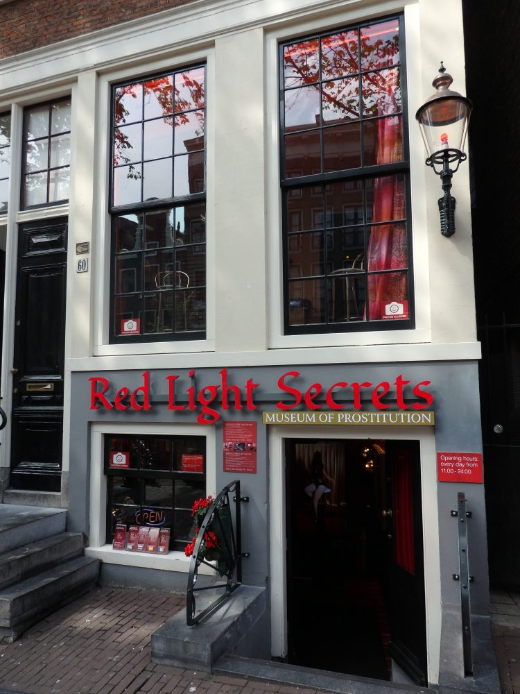The entrance to the Red Light Secrets Museum of Prostitution in Amsterdam