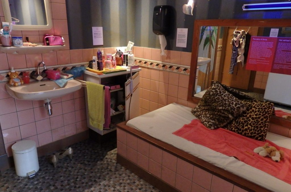 a reconstruction of a prostitute's room in the red light district in Amsterdam, which she rents out from the building owner