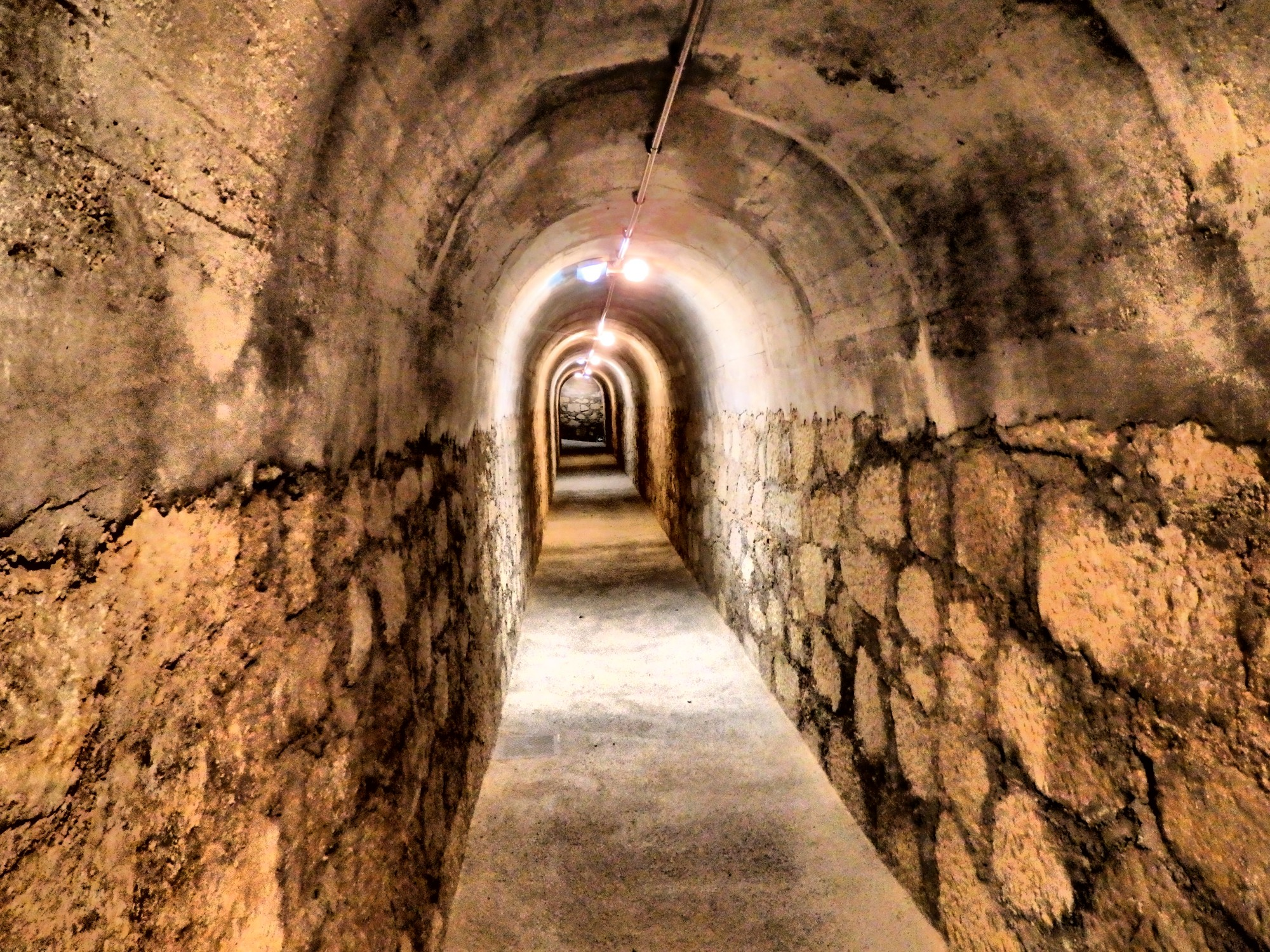 The entrance tunnel to the bomb shelter at Refugio de Cervantes in Alcoy, Costa Blanca, Spain