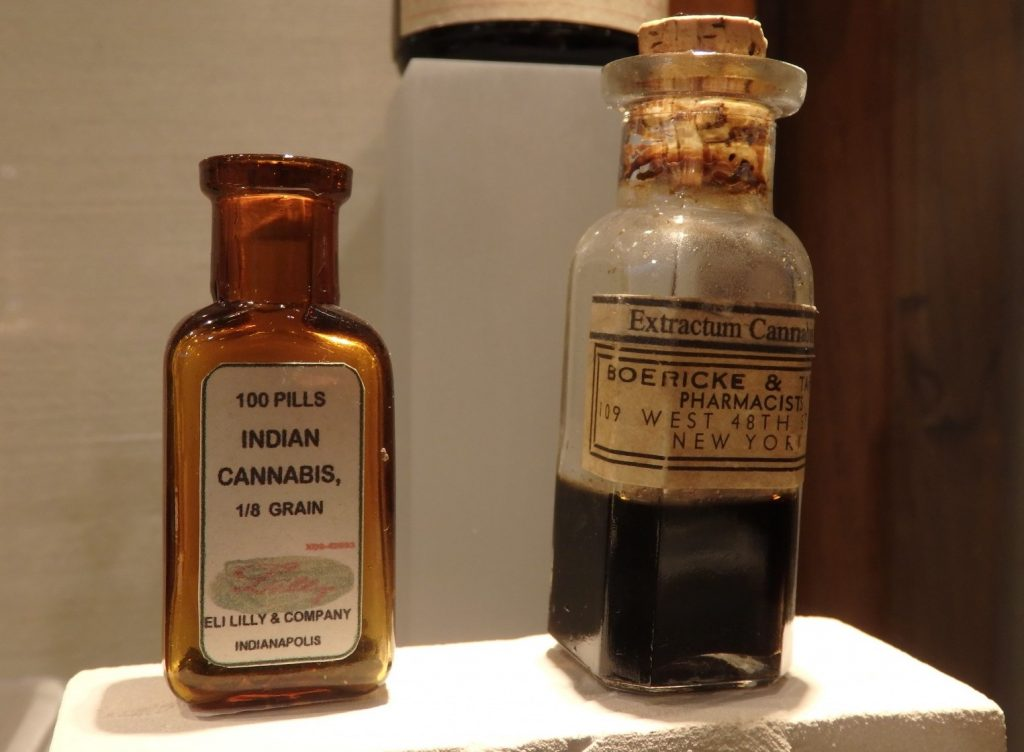 a few bottles from the collection of antique medicines containing cannabis and other drugs, at the hash, marijuana and hemp museum in Amsterdam