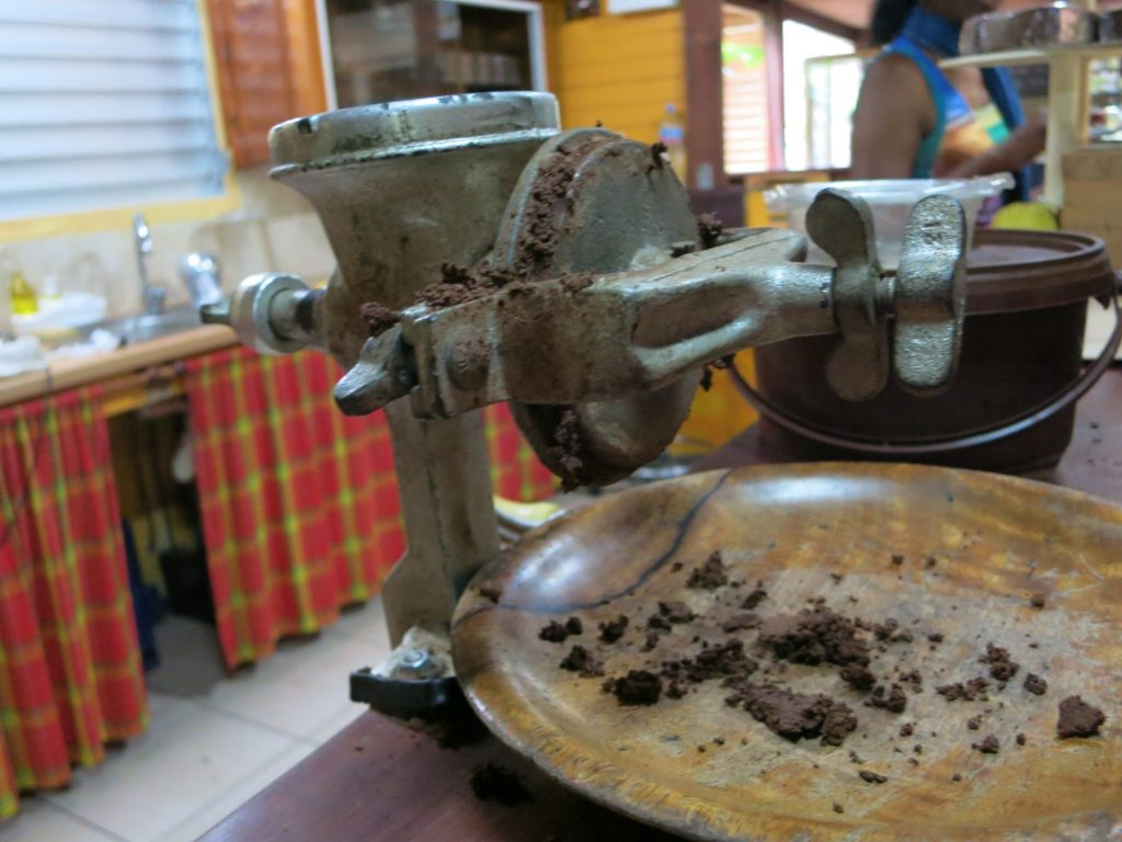 a hand mill used to demonstrate how the cacao is processed into chocolate