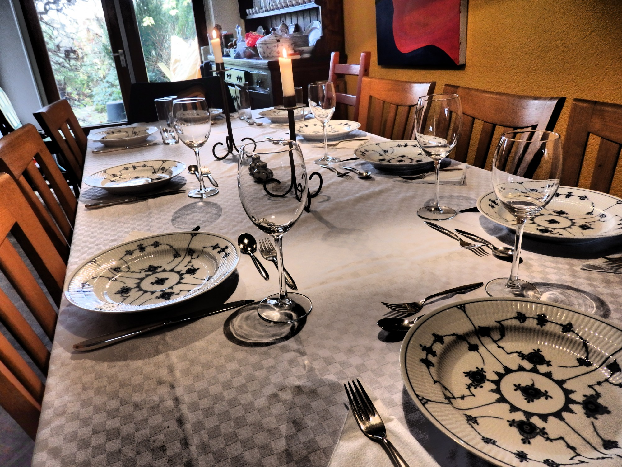 The table is set and ready for Thanksgiving tonight.