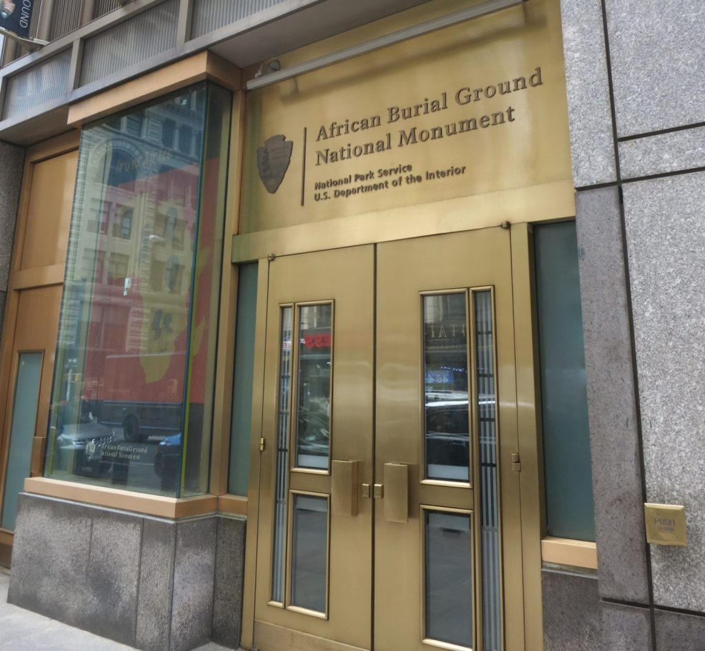 The entrance to the African Burial Ground museum at the corner of Broadway and Duane Street.