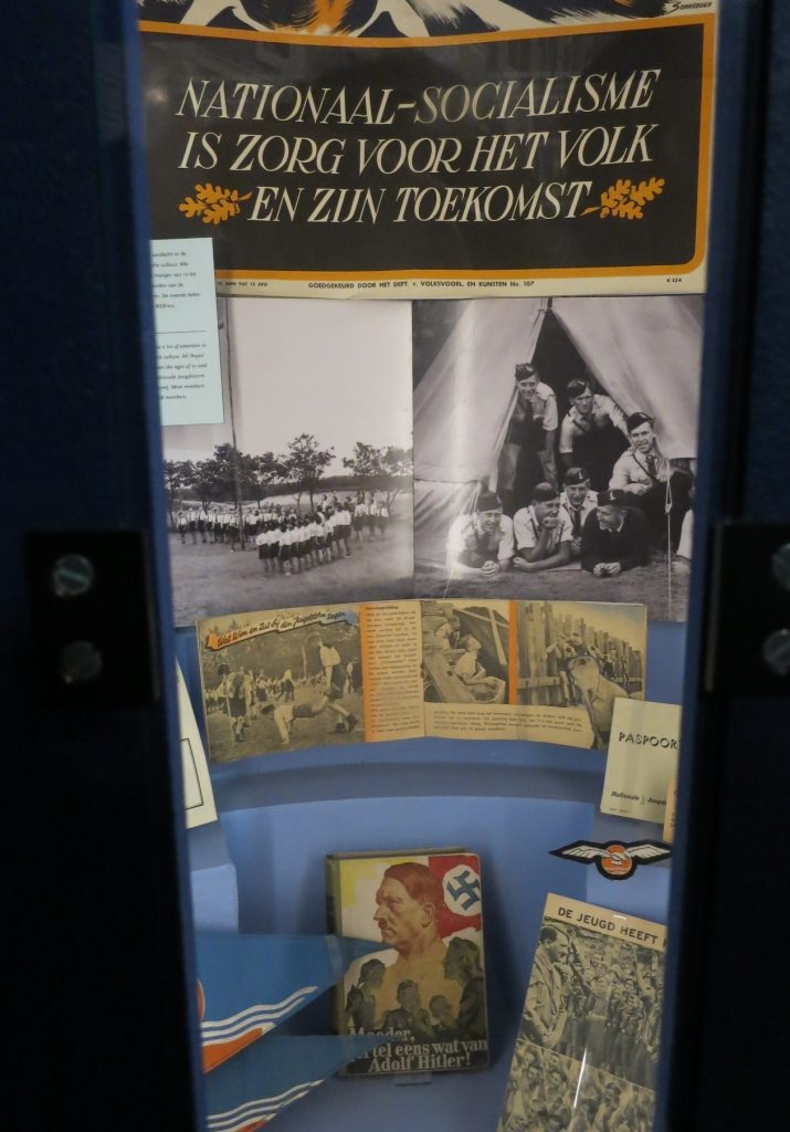 A case showing Nazi propaganda material in the Dutch Resistance Museum