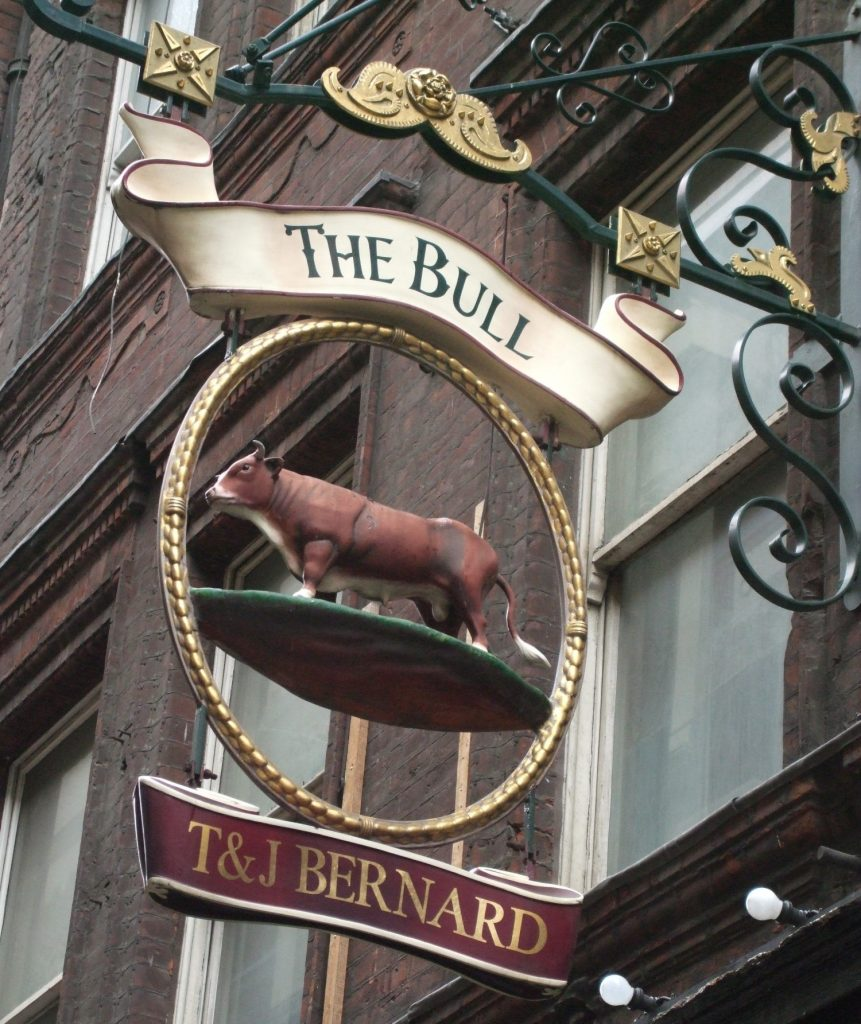 sign on The Bull pub in London