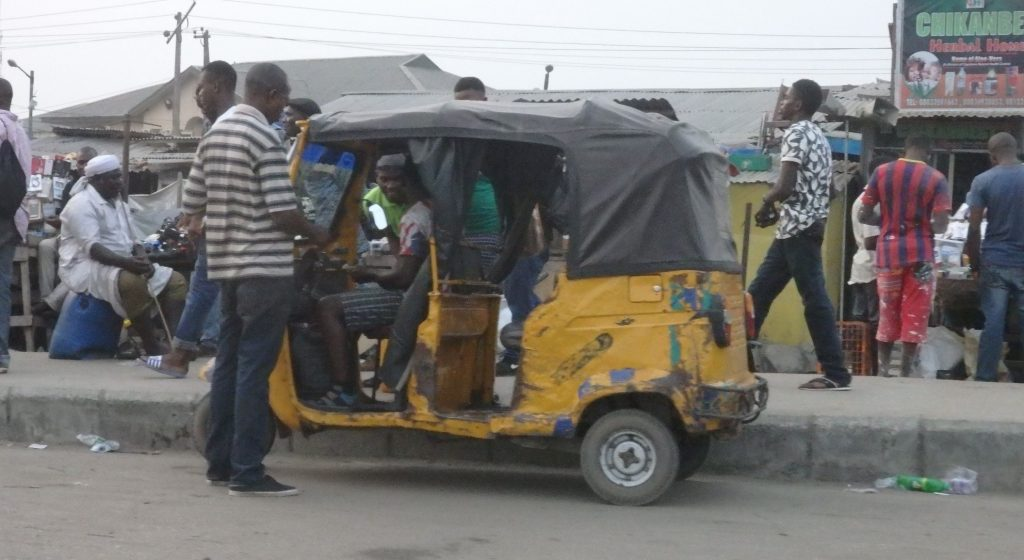 a so-called tricycle in Lagos, Nigeria
