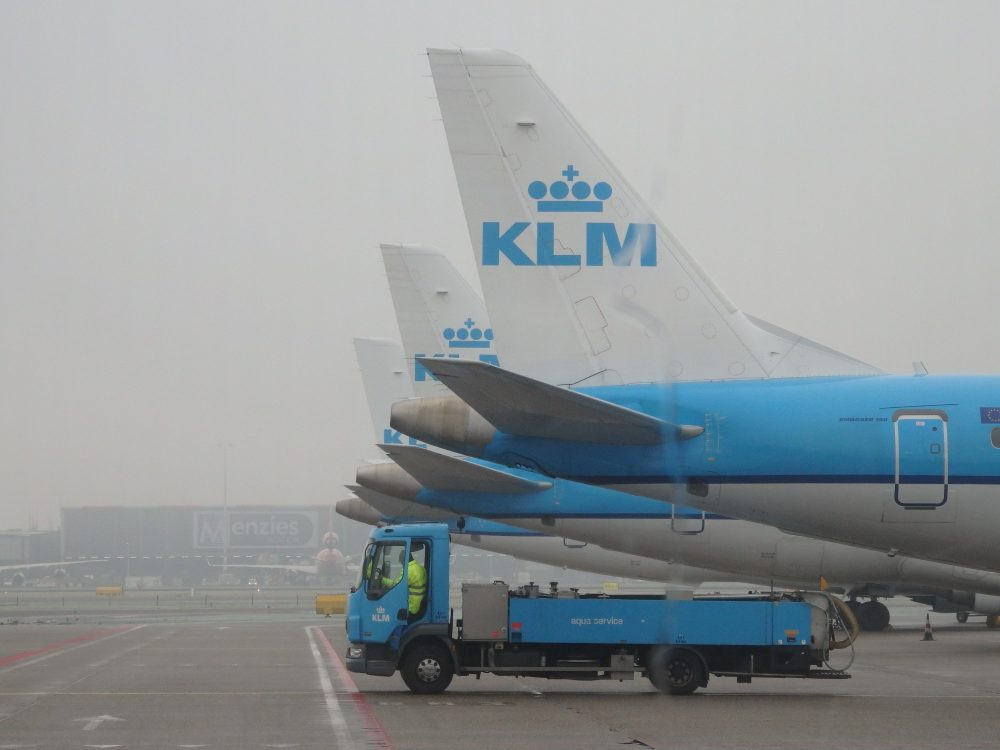 parked planes at Schiphol airport in the Netherlands