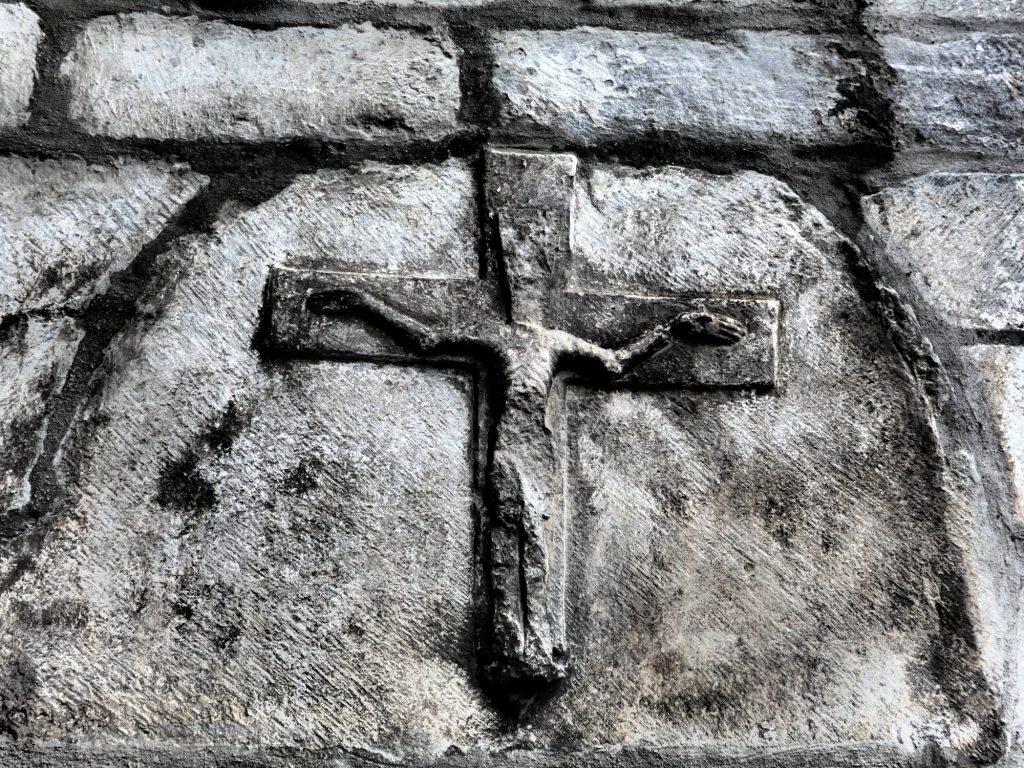 detail next to the entranceway to Sant Miqueu church in Vielha, Val d'Aran, Spain