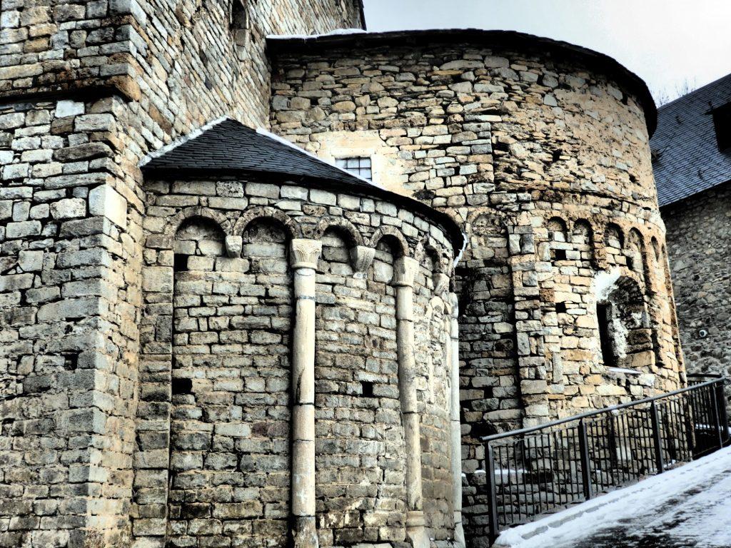 apses on the Santa Maria de Cap d'Aran church in Tredos, Val d'Aran, Spain