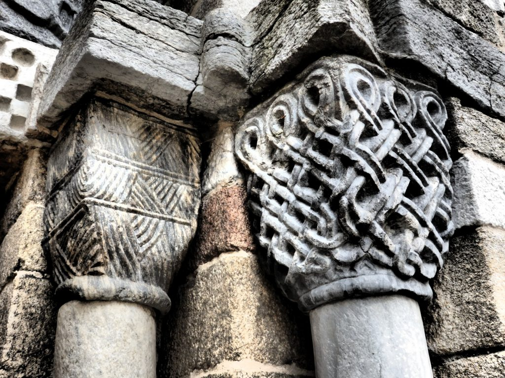 I love the intricacy of these mismatched columns at the church of Santa Maria in Bossòst, in the Val d'Aran, Spain.
