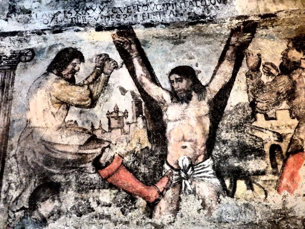 This crucifixion scene in a fresco in the church in Salardu seems unusual because of the x-shaped cross, in the Val d'Aran in Spain.