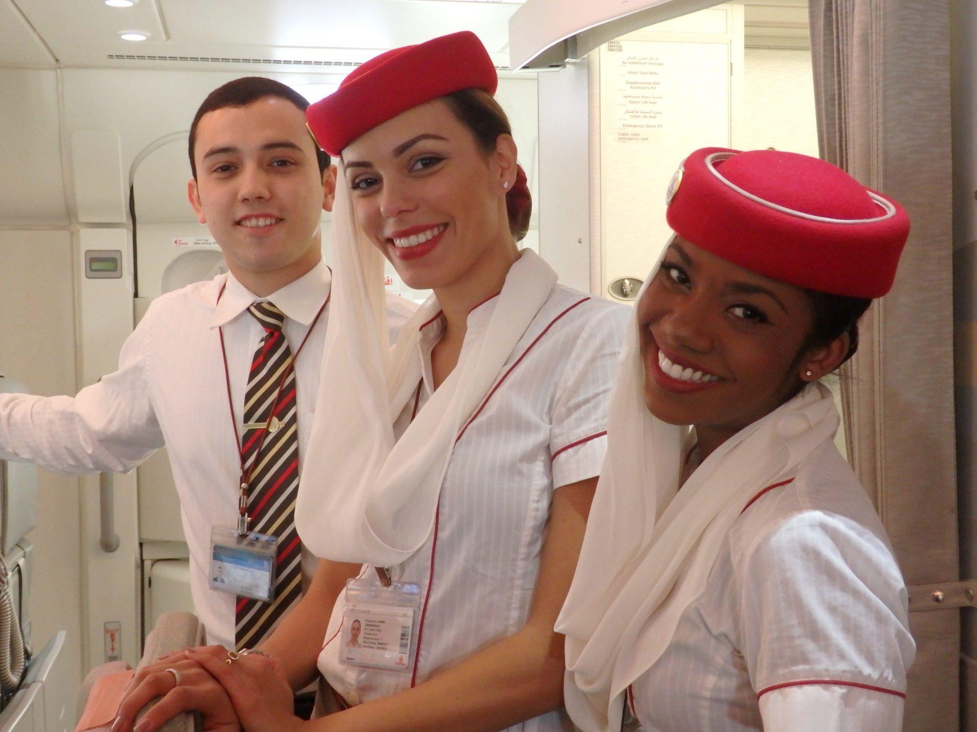 friendly flight attendants on Emirates A380