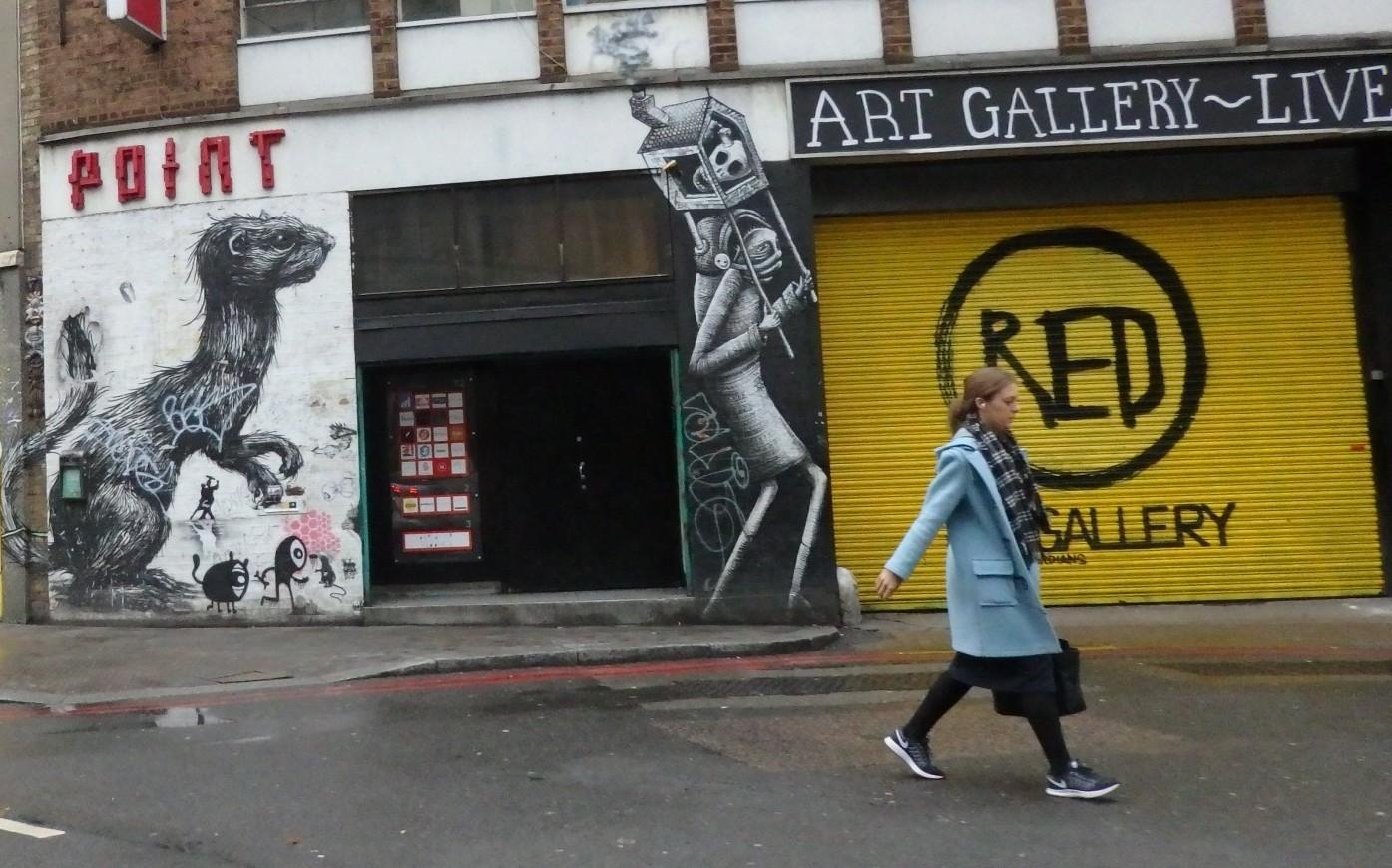 art on an art gallery in Shoreditch, London