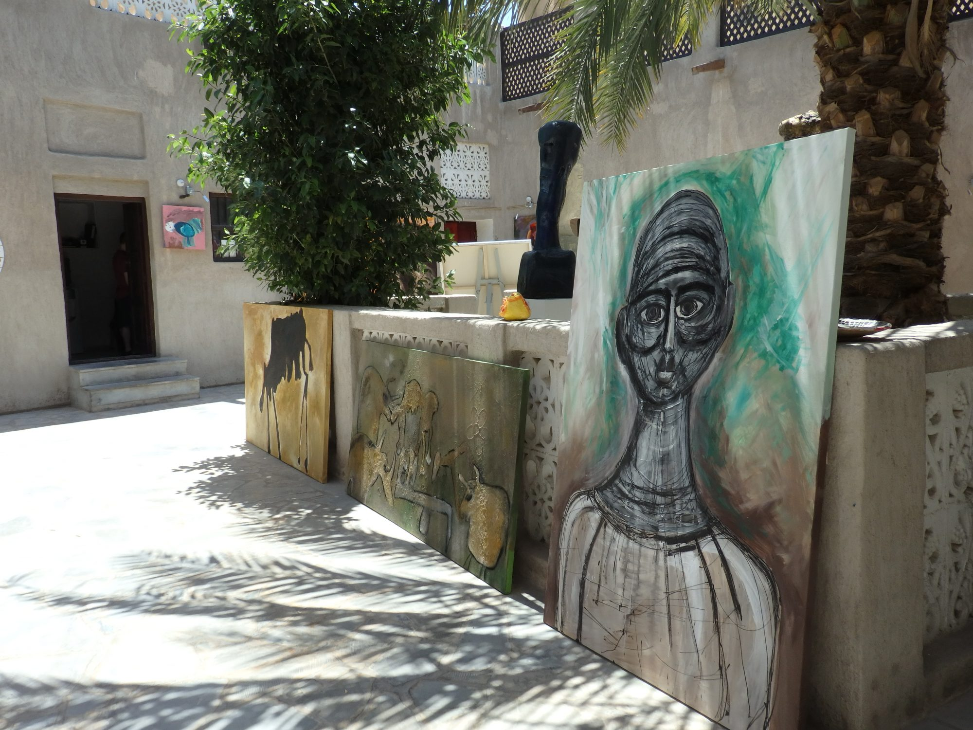 paintings in the Mahaweb from Beautiful People gallery in the Bastakiya section of Old Dubai
