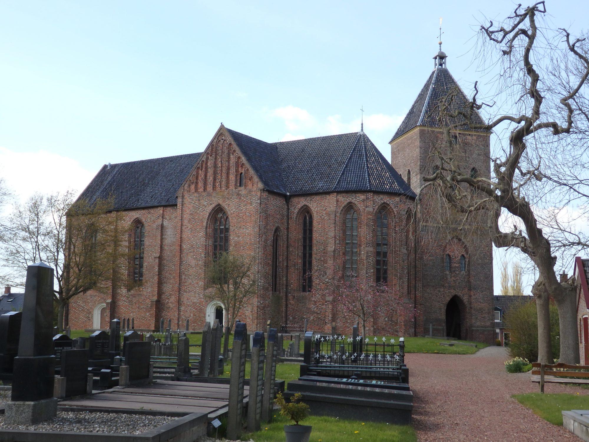 Zeerijp church and its detached clocktower, in Groningen province